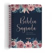 BÍBLIA ANOTE NVI GRANDE COM ESPIRAL - CAPA ROSAS