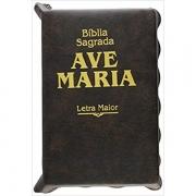 BÍBLIA SAGRADA - LETRA MAIOR - CAPA MARROM COM ZÍPER