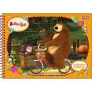 Caderno Espiral Capa Dura Cartografia e Desenho Masha e O Urso - 96 Folhas