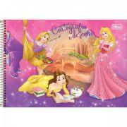 Caderno Espiral Capa Dura Cartografia e Desenho Princesas - 96 Folhas