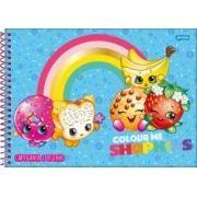 Caderno Espiral Capa Dura Cartografia Shopkins - 96 Folhas