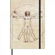 Caderno Tilibra Costurado Sketchbook Médio Sem Pauta Cambridge Vitruviano - 78 Folhas