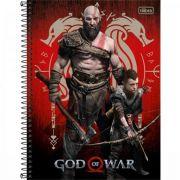 Caderno Tilibra Espiral Capa Dura Universitário 10 Matérias God Of War - 160 Folhas