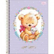 Caderno Universitário Capa Dura Love Bears 10 Matérias - 200 Folhas