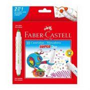 Canetinha Hidrográfica Super Duo Faber Castell Duas Pontas - 10 Cores