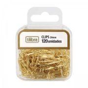 Clips 28mm Tilibra Dourado 120 Unidades