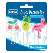 CLIPS TILIBRA DECORADO 50MM  BLISTER C/ 3 UNIDADES
