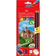 Kit Ecolápis Faber Castell 12 Cores + 2 Lápis Grafite + 1 Apontador + 1 Borracha
