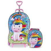 Kit Mochilete Com Rodas Diplomata Maxtoy 3d Cute Unicornio + Lancheira