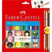 Lápis de Cor 24 Cores + 3 Lápis Duo Tons de Pele Faber Castell