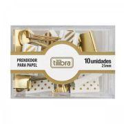 Prendedor de Papel Tilibra 25mm Dourado, Listras e Bolinhas - 10 Unidades