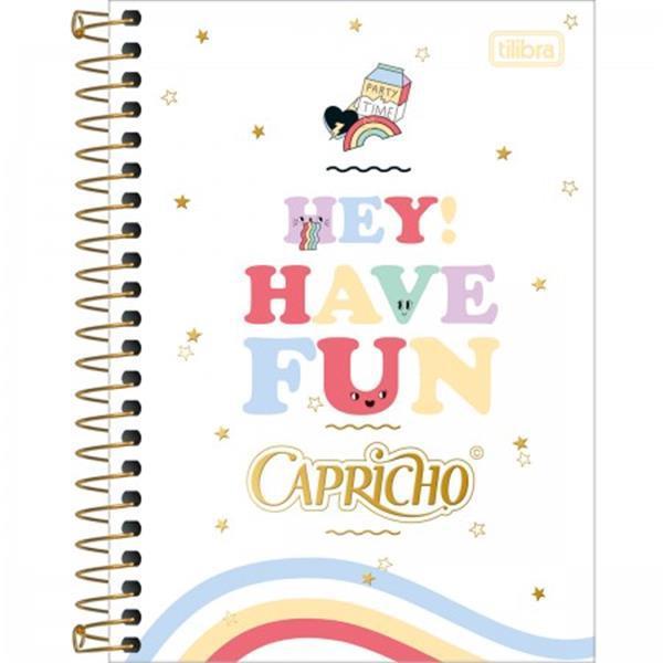 CADERNETA TILIBRA ESPIRAL CAPA DURA 1/8 CAPRICHO - 80 FOLHAS - CAPAS SORTIDAS