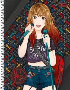 Caderno Tilibra Espiral Capa Dura Universitário 12 Matérias Hi! Girls - 240 Folhas
