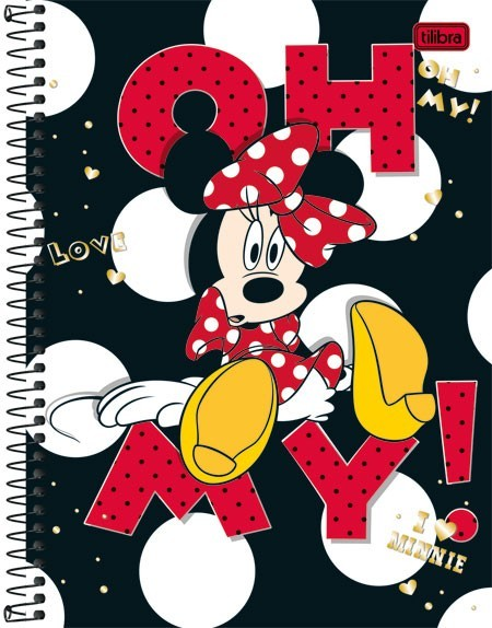 Caderno Capa Dura Universitário Minnie 10 Matérias 200 Fls - Capas Sortidas