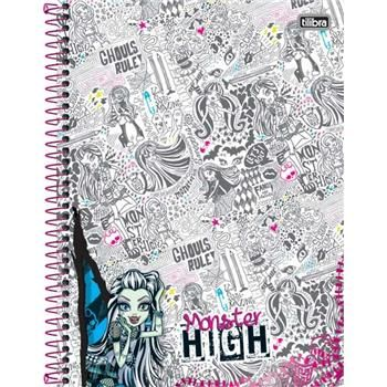 Caderno Capa Dura Universitário Monster High 12 Matérias 240 Fls
