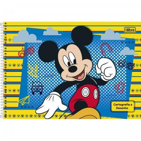 Caderno Espiral Capa Dura Cartografia e Desenho Mickey 96 Folhas