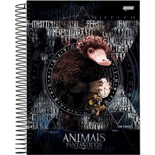 Caderno Espiral Universitário Capa Dura Animais Fantásticos e Onde Habitem 1 Matéria - 96 Folhas - Capas Sortidas