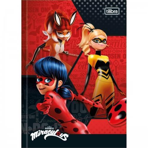Caderno Tilibra Brochura Capa Dura 1/4 Pequeno Miraculous: Ladybug - 48 Folhas