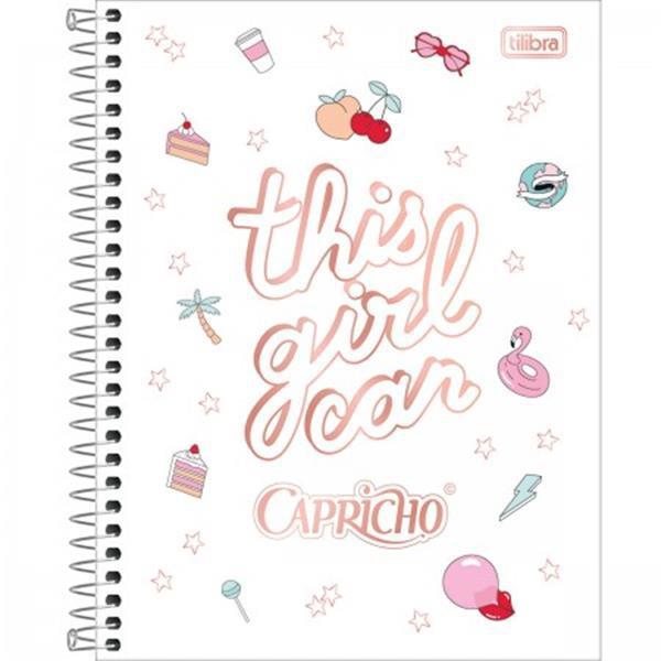 CADERNO TILIBRA ESPIRAL CAPA DURA COLEGIAL 10 MATÉRIAS CAPRICHO - 160 FOLHAS - CAPAS SORTIDAS