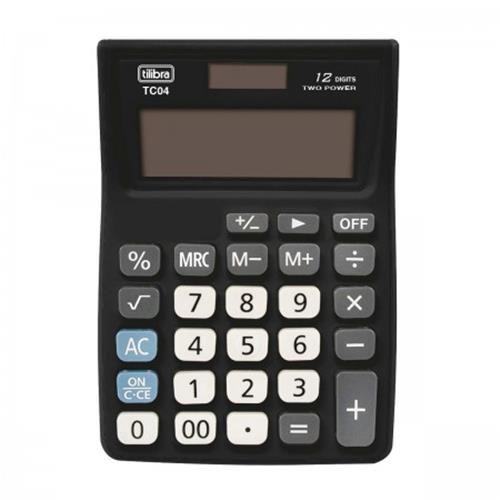 Calculadora de Bolso 12 Dígitos Grande Tc04 Preta Tilibra