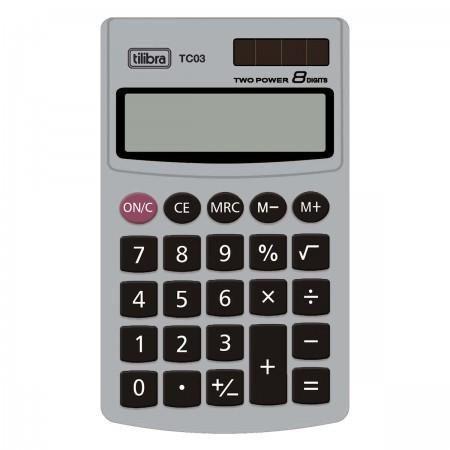 Calculadora de Bolso 8 Dígitos Grande Tc03 Cinza Tilibra