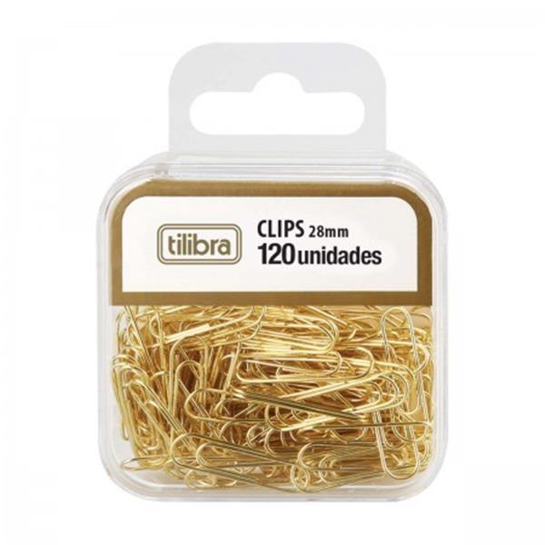 CLIPS 28MM TILIBRA DOURADO C/ 120 UNIDADES