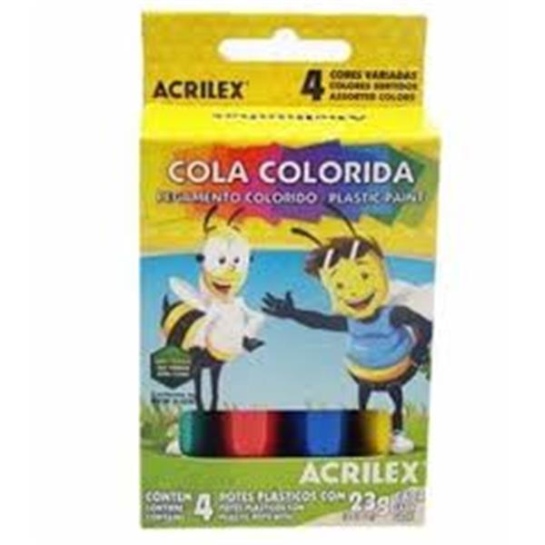 COLA COLORIDA 23G C/ 4 CORES ACRILEX