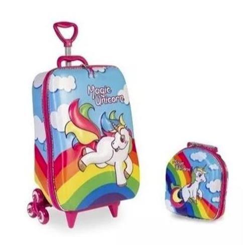 Kit Mochilete Com Rodas Diplomata Maxtoy 3d Magic Unicornio + Lancheira