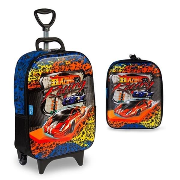 KIT MOCHILETE COM RODAS DIPLOMATA MAXTOY 3D SOFT CARS +