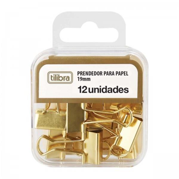 PRENDEDOR DE PAPEL TILIBRA 19MM DOURADO  C/ 12 UNIDADES