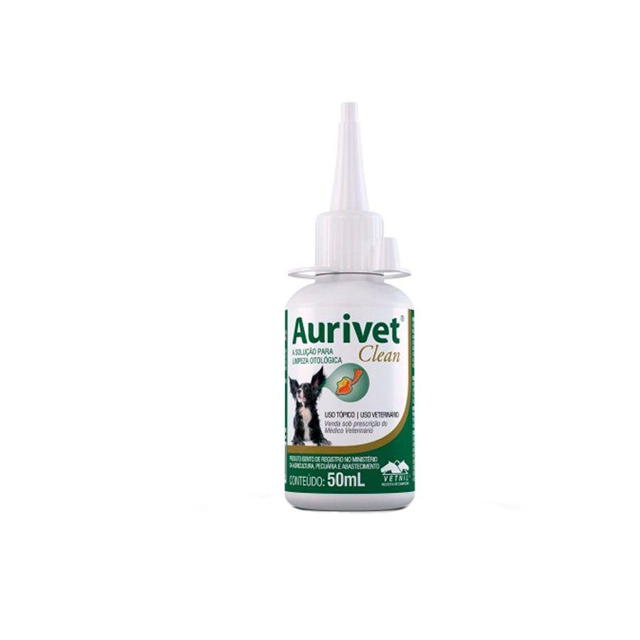 Aurivet Clean Vetnil Solução Limpeza otológica 50 ml