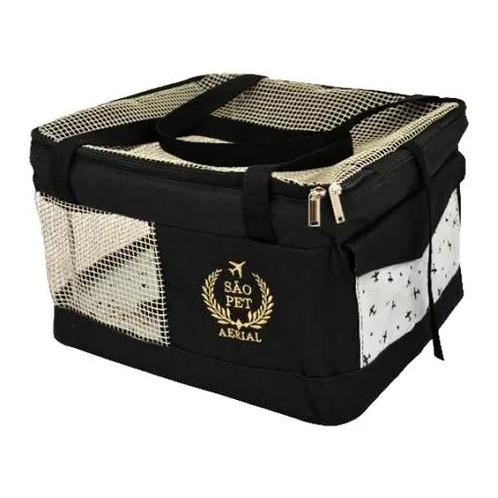 Bolsa Aerial São Pet Preta para Transporte de Cães e Gatos em Avião