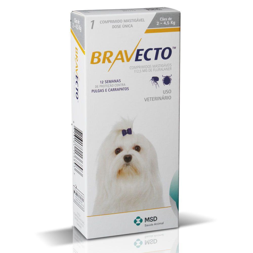 Bravecto Antipulgas e Carrapatos Para Cães até 4,5 kg