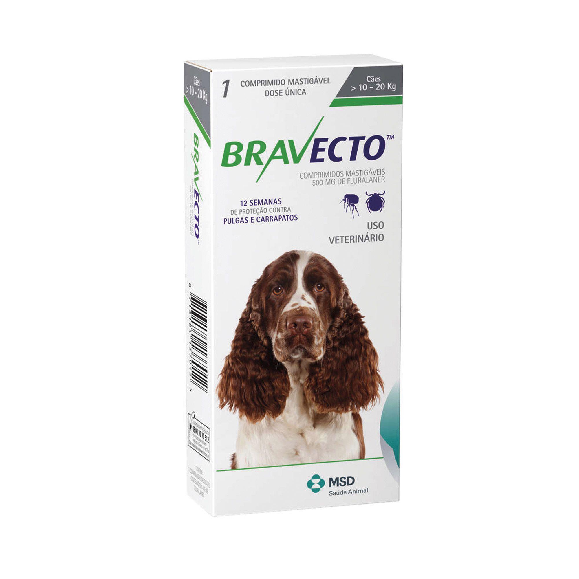 Bravecto Antipulgas e Carrapatos Para Cães De 10 A 20 kg