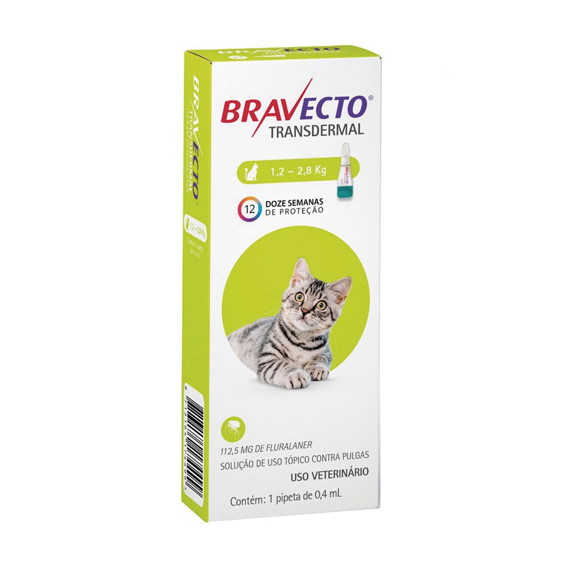 Bravecto Antipulgas Para Gatos de 1,2 a 2,8 kg Transdermal