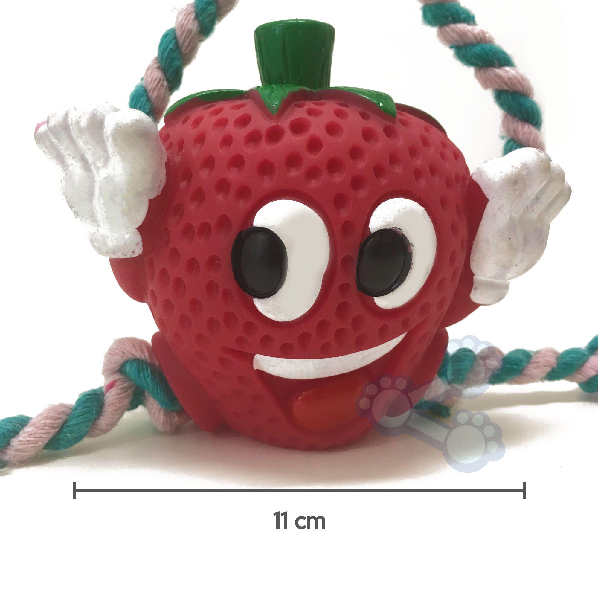 Brinquedo de Vinil para Cães Cachorros Fruta com Corda