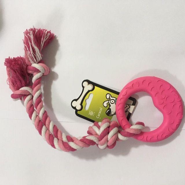 Brinquedo Mordedor Argola com corda para Cachorro