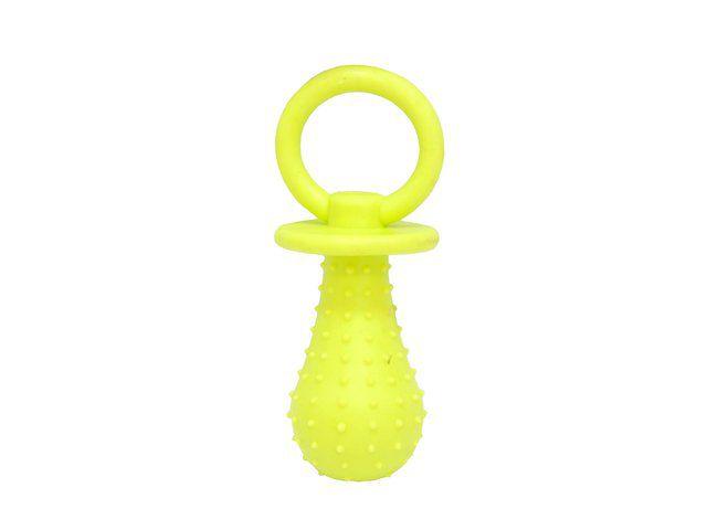 Brinquedo mordedor borracha em formato de chupeta com guizo