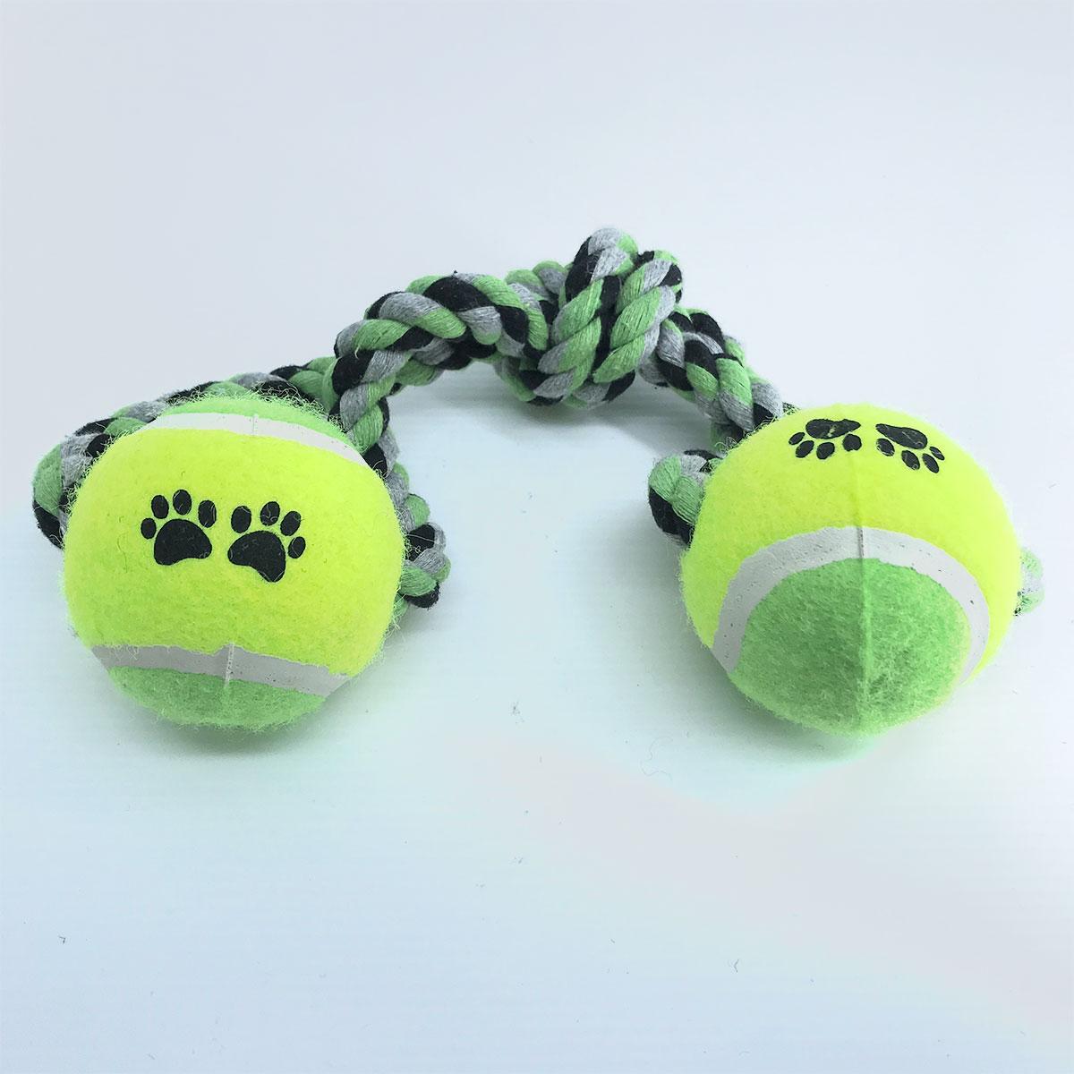Brinquedo Mordedor Corda com 2 bolas para Cães