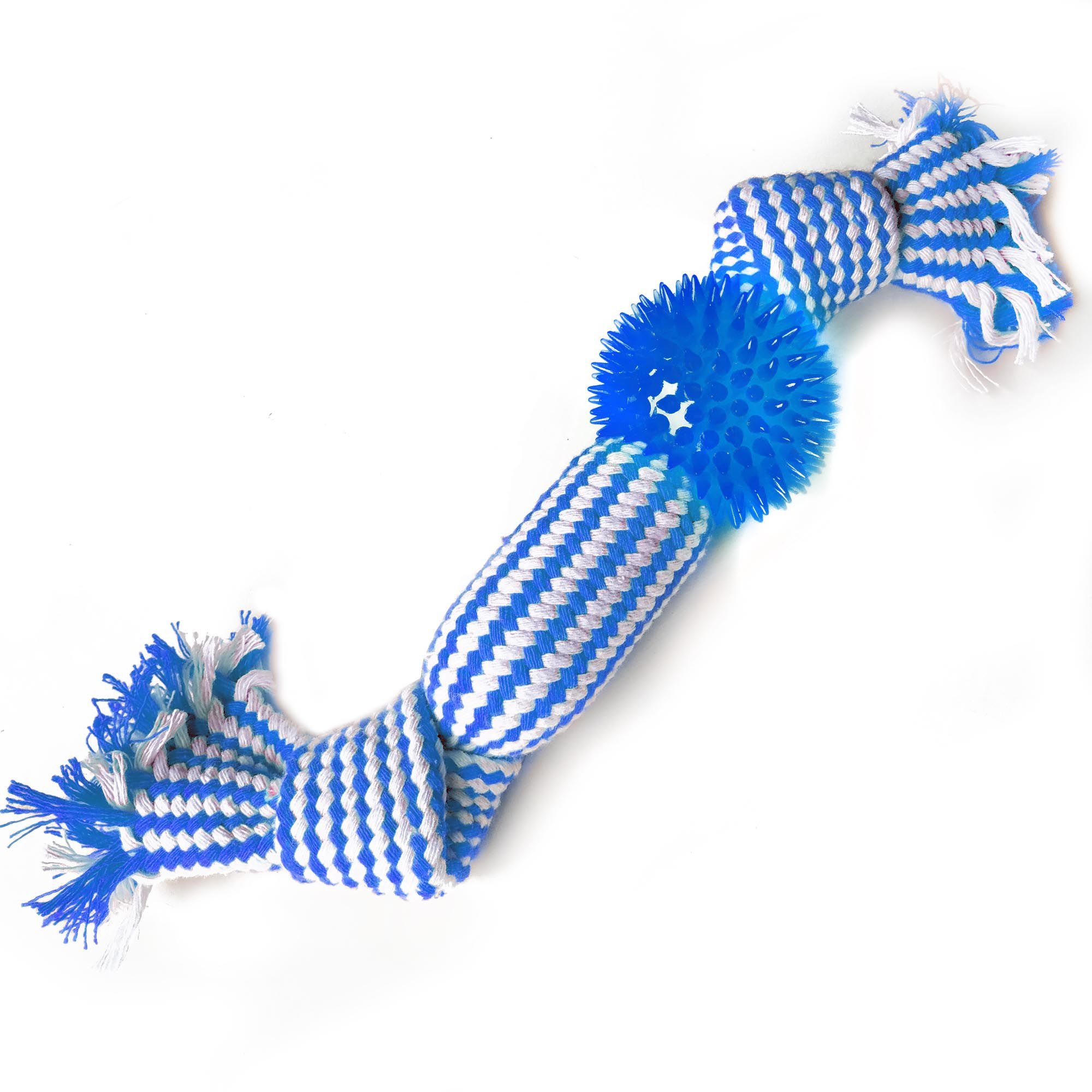 Brinquedo Mordedor Corda com Apito e Bola de cravos, 30cm