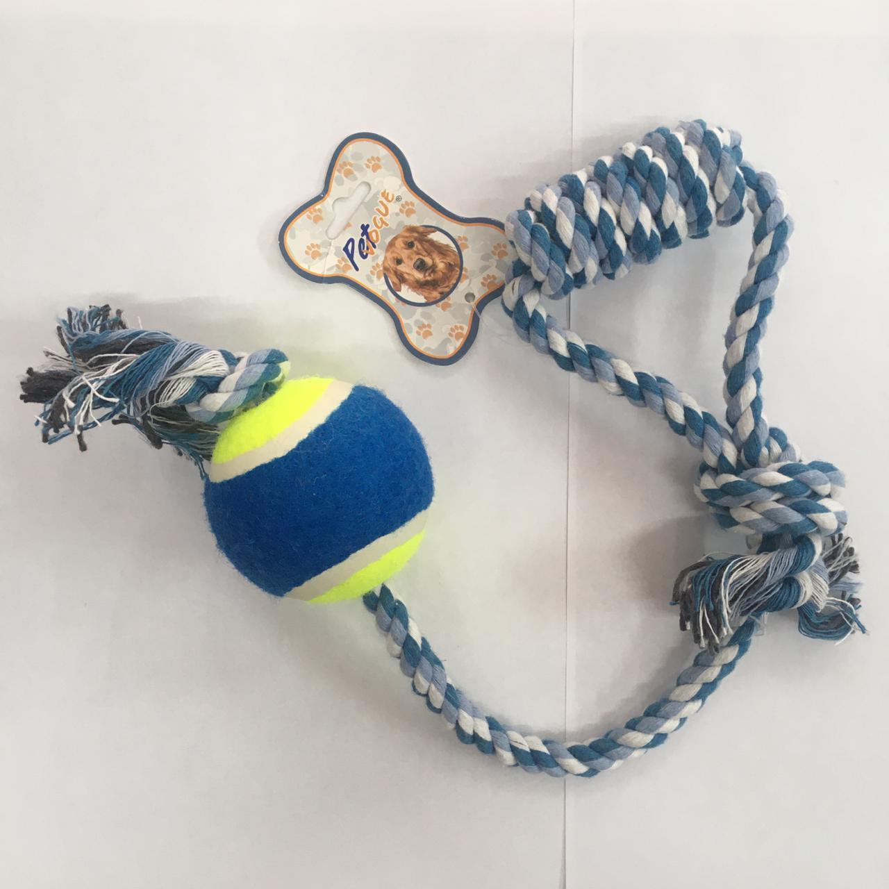 Brinquedo Mordedor Corda com bola na ponta para Cães