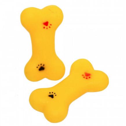 Brinquedo Mordedor para cachorro em formato mini ossinho com patinhas