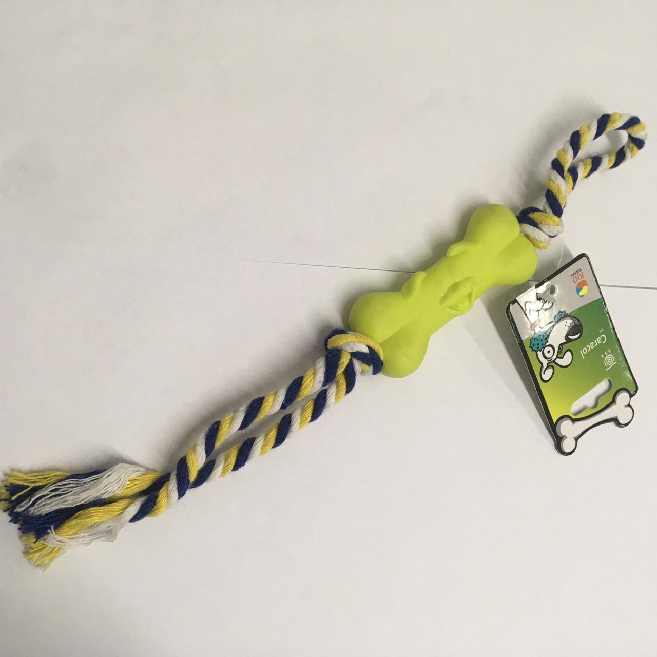 Brinquedo Mordedor para Cães - Osso Sorriso com corda