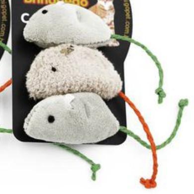 Brinquedo para Gatos - 3 Ratinhos de Pano