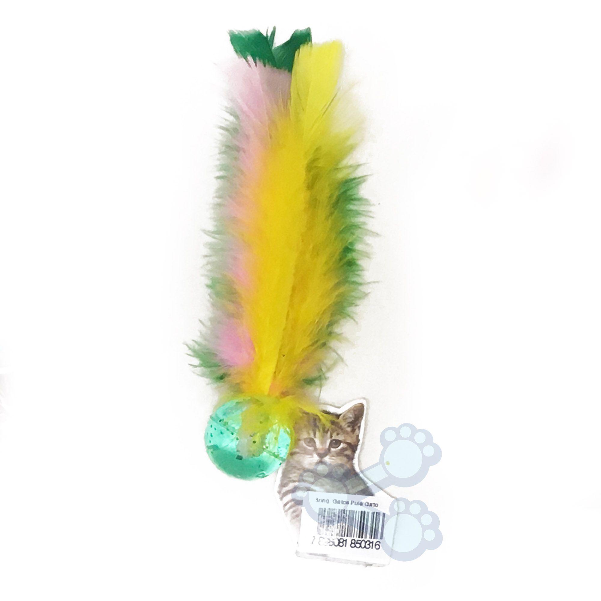 Brinquedo para Gatos Bolinha com Pena Cores Sortidas