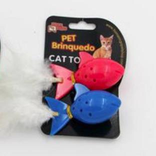 Brinquedo para Gatos - Peixinho Plástico c/ Pena e Guizos