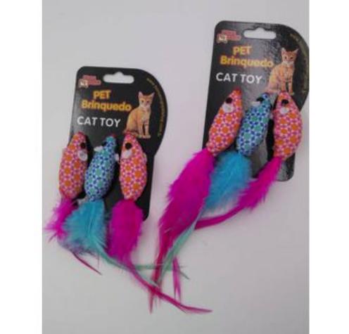 Brinquedo para Gatos - Ratinho Plumas
