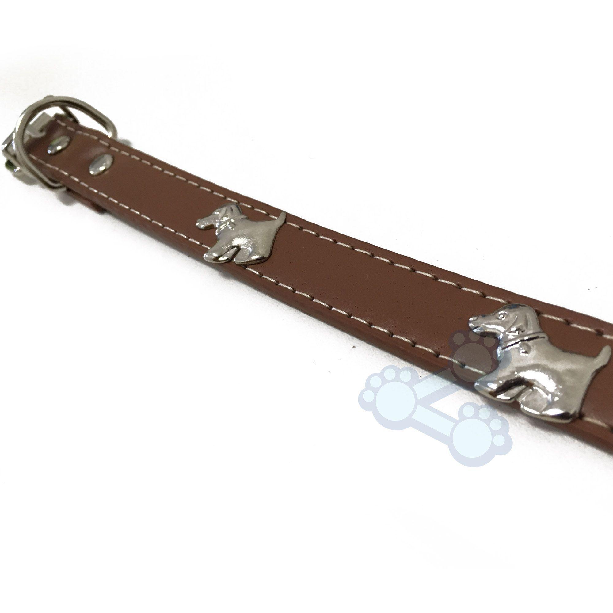 Coleira para Cães em Couro com detalhe de Cachorrinhos em Metal - Cachorro.