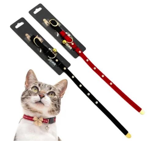 Coleira Para Gato e Cães Com Pedras Strass E Guizo