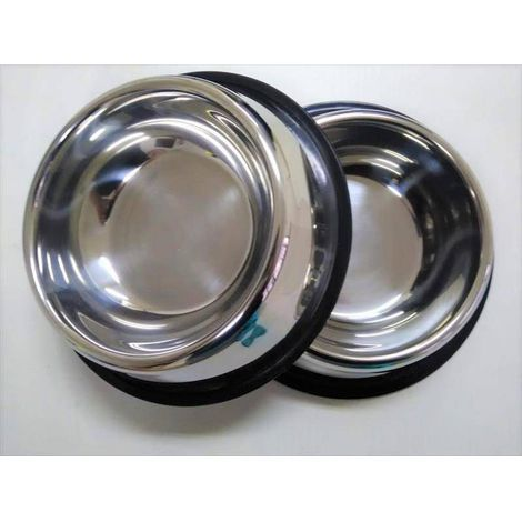 Comedouro para Cães de Aço Inox c/ borracha anti derrapante